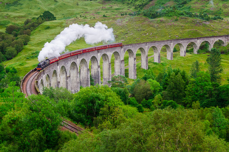 Detail of steam train on famous Glenfinnan viaduct, Scotland, United Kingdom Stock Photo