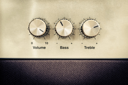 Detail of sound volume controls in vintage style photo