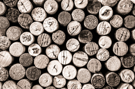 Detail of old wine corks in monochrome vintage style photo