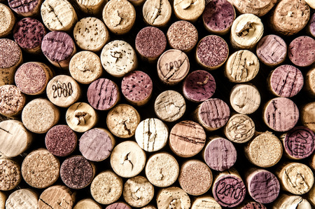 Detail of old wine corks in color vintage style photo