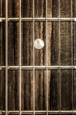 frets: Detail close-up view of guitar strings and frets in vintage style