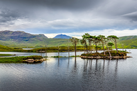 landscape view of trees in a lake at Scottish highlands, United Kingdom photo