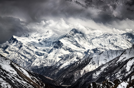 Himalayas mountains scenic view with dramatic sky, Annapurna area, Nepal photo