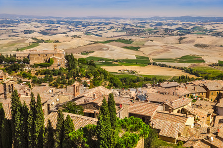montalcino: Landscape view of Montalcino town, fields and meadows, Tuscany, Italy Stock Photo