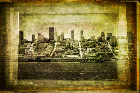 View of San Francisco skyline in vintage filtered textured style, USA photo