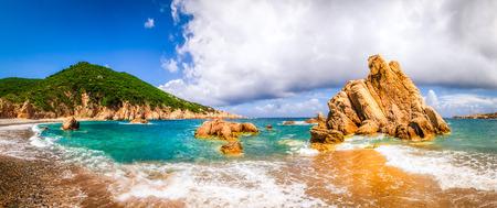 Beach scenic panoramic view in Costa Paradiso, Sardinia, Italy