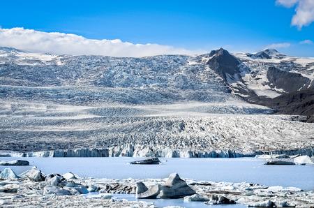 jokulsarlon: Scenic view of the frozen glacier and lake in Iceland Stock Photo