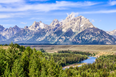 Grand Teton mountains scenic view with Snake river, Wyoming, USA photo