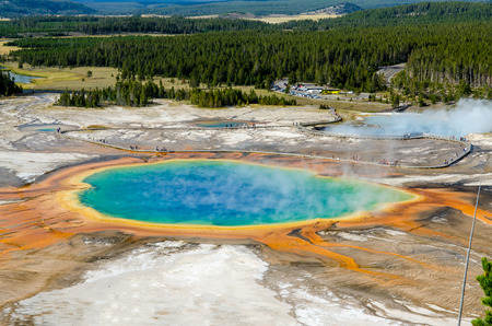 thermal spring: Landscape view of Grand Prismatic spring in Yellowstone NP, Wyoming, USA