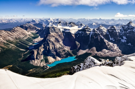 Mountain range view from Mt Temple with Moraine lake, Banff, Rocky Mountains, Alberta, Canada