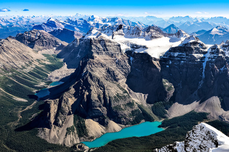 Mountain range view from Mt Temple with Moraine lake, Banff, Rocky Mountains, Alberta, Canada photo