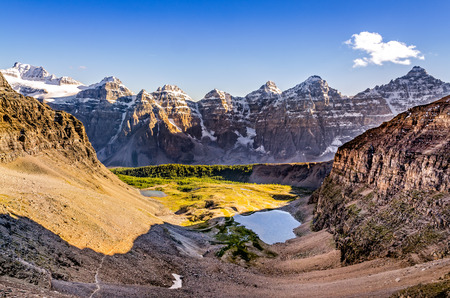 Mountain range view from Sentinel pass, Banff national park, Rocky mountains, Canada photo