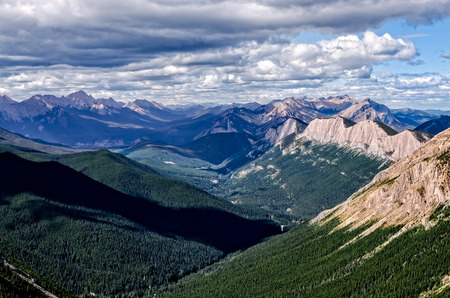 Mountain range landscape view in Jasper NP, Rocky Mountains, Alberta, Canada photo