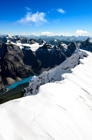 Mountains view from Mt Temple with Moraine lake, Banff, Rocky Mountains, Alberta, Canada photo