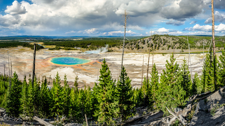 prismatic: Panoramic view of Grand Prismatic spring in Yellowstone NP, USA Stock Photo