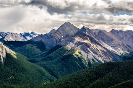 banff: Scenic view of Rocky mountains range in Jasper NP, Alberta, Canada Stock Photo