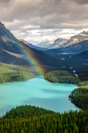 Scenic mountain view of Peyto lake, Canadian Rockies, Alberta, Canada