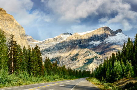 canadian rockies: Scenic view of the road on Icefields parkway Canadian Rockies Canada