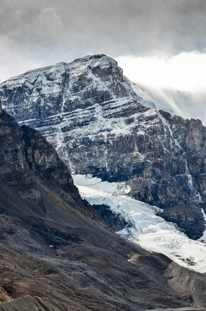 glacial: Scenic view of Columbia glacier and mountain peak in Jasper NP Rocky Mountains Canada