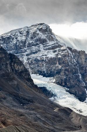 jasper: Scenic view of Columbia glacier and mountain peak in Jasper NP Rocky Mountains Canada