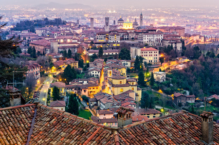 Scenic view of Bergamo old town cityscape at sunset Italy Europe 免版税图像 - 40449374