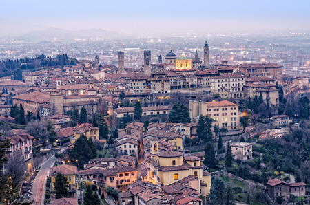 Scenic view of Bergamo old town cityscape after sunset Italy Europe