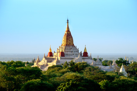 buddhist temple: Scenic view of buddhist Ananda temple in old Bagan area, Myanmar Burma