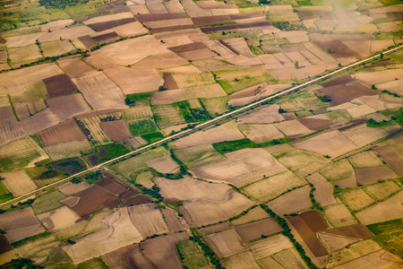 aerial view: Aerial landscape view of fields and meadows, Myanmar