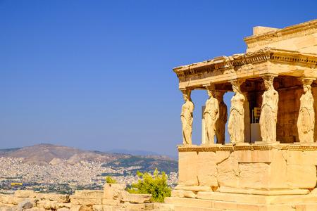 Architecture detail of ancient temple Erechteion in Acropolis, Athens, Greece