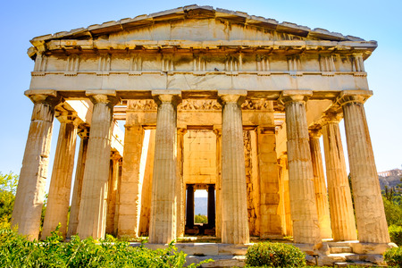 Scenic view of temple of Hephaestus in Ancient Agora, Athens, Greece