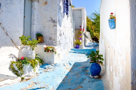 the white house: Beautiful street in old traditional Greek cycladic village Plaka, Milos island, Greece