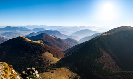 mala fatra: Panoramic landscape view of beautiful autumn hills and mountains, Mala Fatra, Slovakia