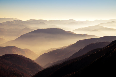 on the hill: Scenic view of misty autumn hills and mountains in Mala Fatra, Slovakia