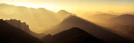 mala fatra: Panoramic scenic view of mountains and hills silhouette at sunset, Mala Fatra, Slovakia