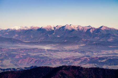 mala fatra: Scenic view of High Tatras mountain range in autumn, viewed from Mala Fatra mountains, Slovakia