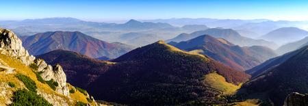 mala fatra: Panoramic landscape view of beautiful autumn mountains in Mala Fatra, Slovakia Stock Photo