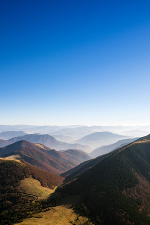 mala fatra: Scenic view of misty colorful autumn hills and mountains in Mala Fatra, Slovakia