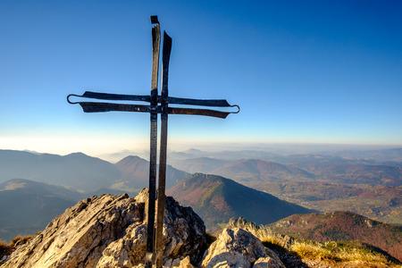 mala fatra: Scenic landscape view of mountain peak Rozsutec with metal cross, Mala Fatra, Slovakia