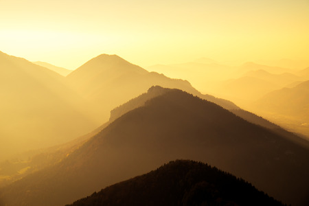 majestic: Scenic view of mountains and hills silhouette at sunset, Mala Fatra, Slovakia