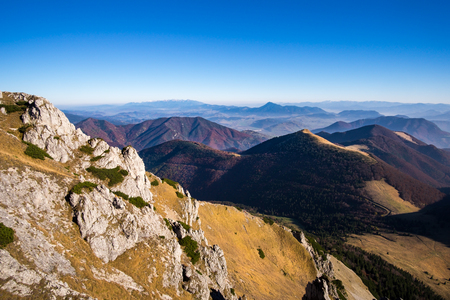 mala fatra: Scenic view of colorful misty mountain hills in fall, moody autumn style, Mala Fatra, Slovakia