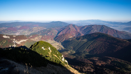 mala fatra: Landscape view of colorful mountain hills in fall, moody autumn style, Mala Fatra, Slovakia Stock Photo