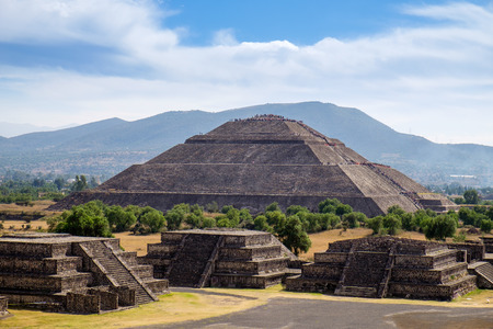 Scenic view of Pyramid of the Sun in Teotihuacan ancient Mayan city, near Mexico city, Mexico