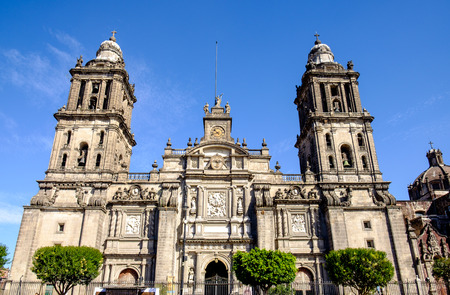 Front view of Cathedral Metropolitana in Mexico city, Mexico