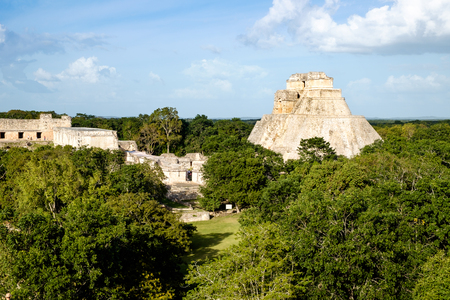 pre columbian: Landscape view of Uxmal archeological site with pyramids and ruins, Mexico Stock Photo