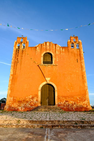 typical: Typical colonial church in rural Mexican village Santa Elena, Mexico Stock Photo