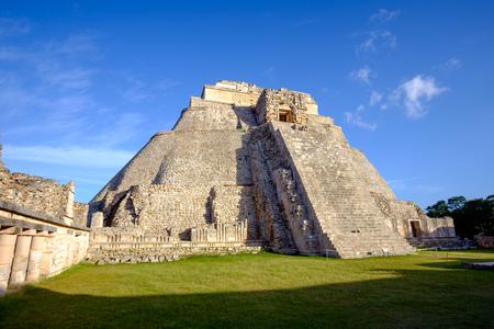 pre columbian: Scenic view of prehistoric Mayan pyramid in Uxmal, Mexico