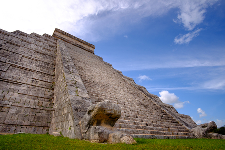 mexico culture: Famous Mayan pyramid in Chichen Itza with stone stairs, Mexico