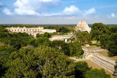 mesoamerica: Landscape view of Uxmal archeological site with pyramids and ruins, Mexico Stock Photo