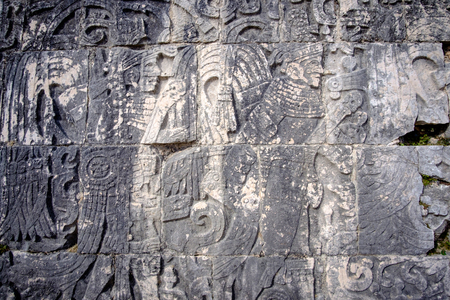stone carvings: Detail of stone carvings in famous archeological site Chichen Itza, Mexico