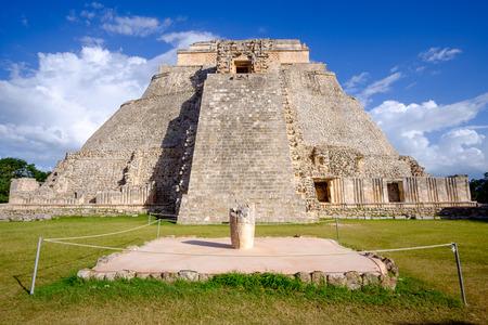 mesoamerica: Scenic view of Mayan pyramid in Uxmal, Mexico Stock Photo